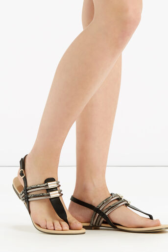 Oasis, Strappy Textured Toepost Multi Black 1