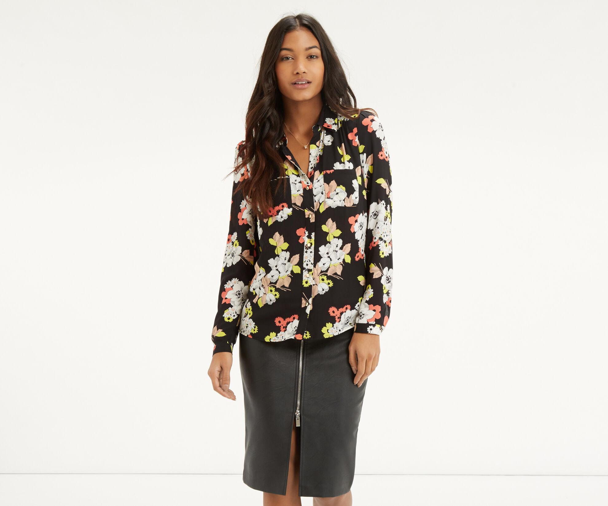 Oasis, Edie Floral Shirt Multi Black 1