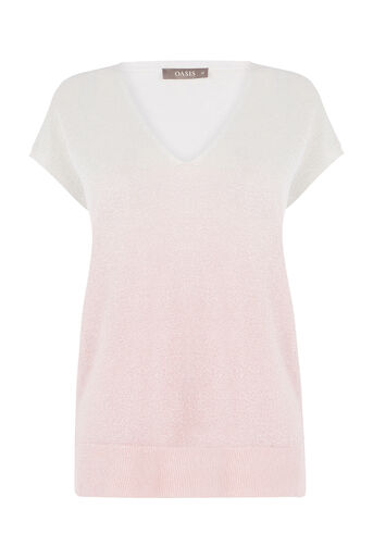 Oasis, Ombre sparkle tee Pale Pink 0