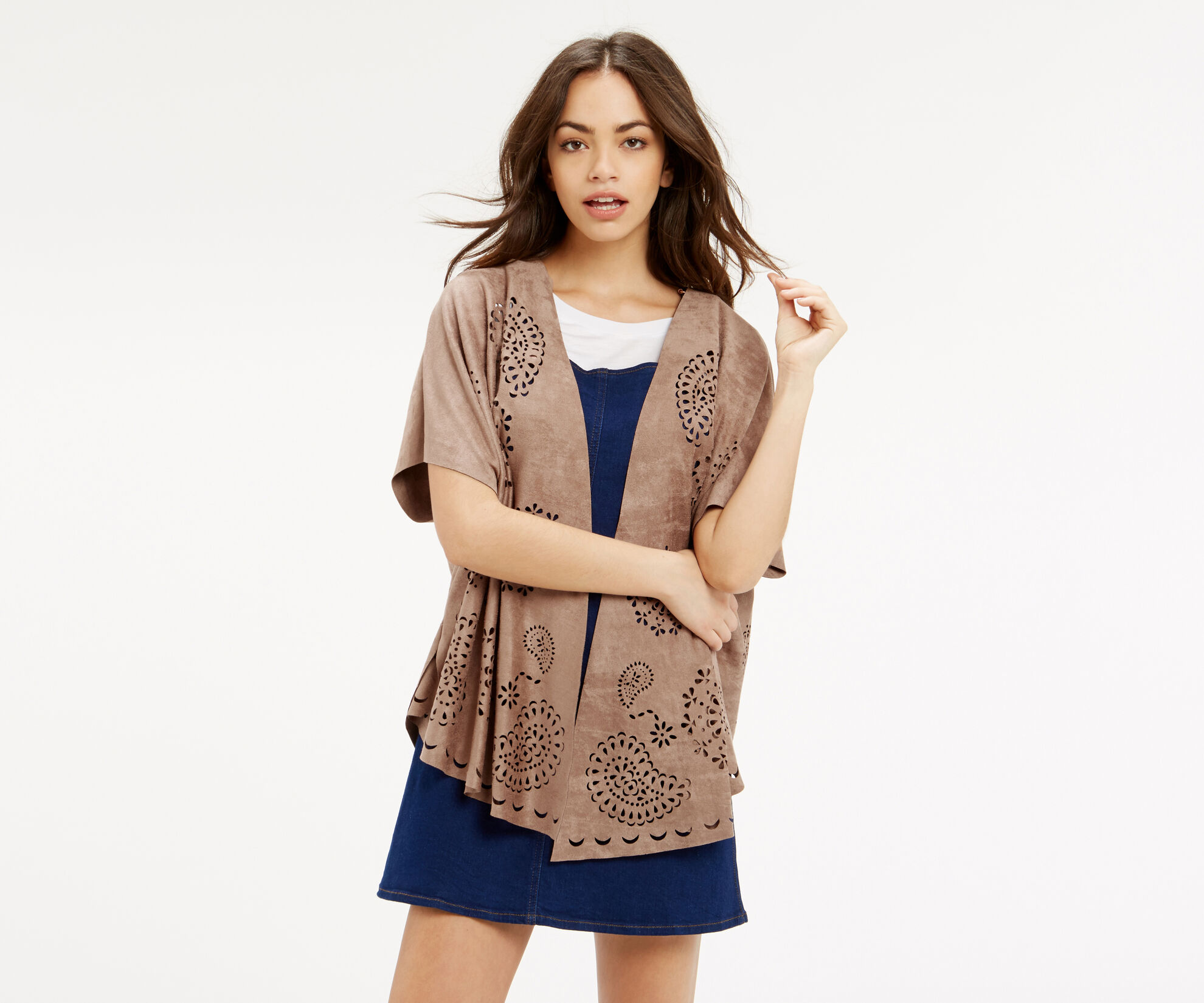 Oasis, FAUX SUEDE CAPE Stone 1
