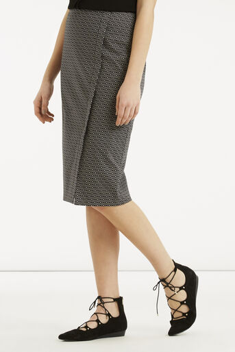 Oasis, Geo Wrap Pencil Skirt Black and White 1