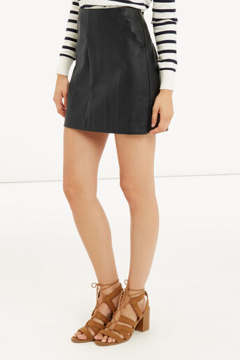 Oasis, FAUX LEATHER SCALLOP SKIRT Black 1