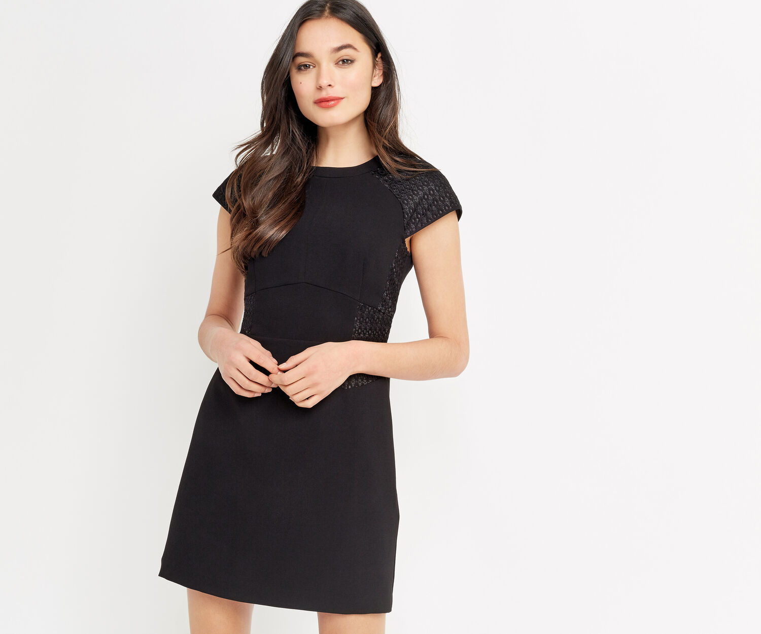 Oasis, LACE PATCHED DRESS Black 1