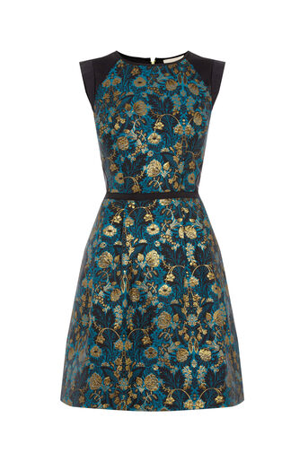 Oasis, WARNER JACQUARD SKATER DRESS Multi Blue 0