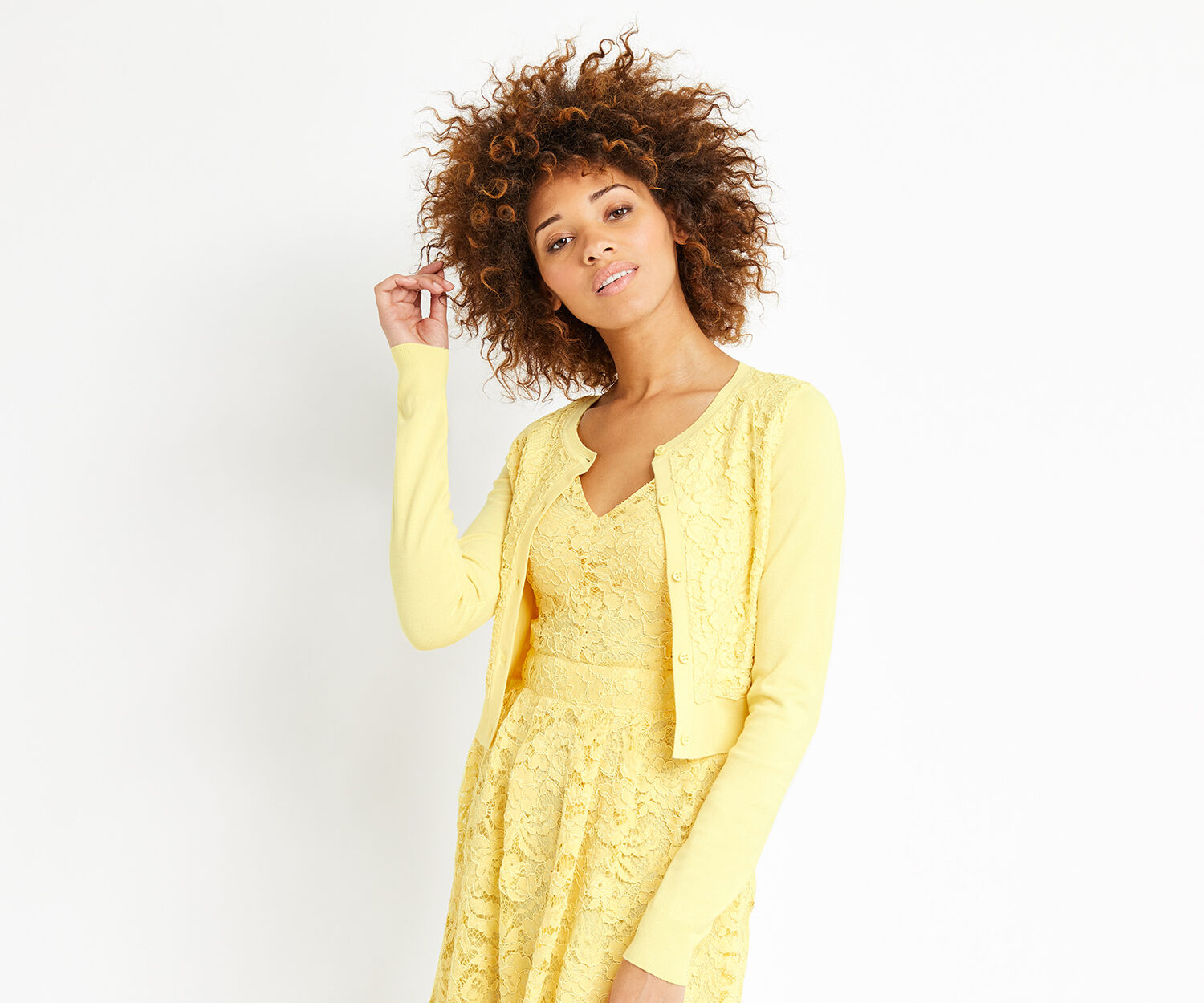 Oasis, Lace front cardi Pale Yellow 1