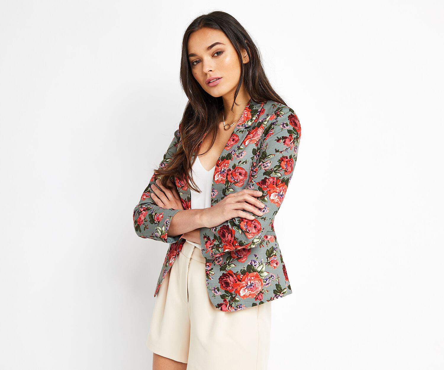 Oasis, ROSE PRINT SUIT JACKET Multi 1
