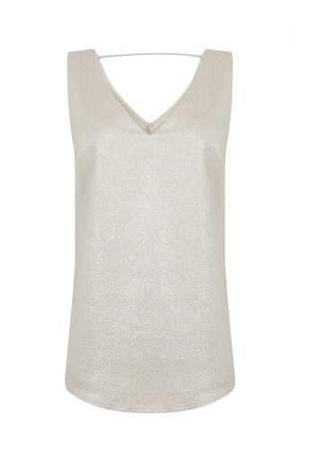 Oasis, METALLIC V FRONT AND BACK VEST Silver 0