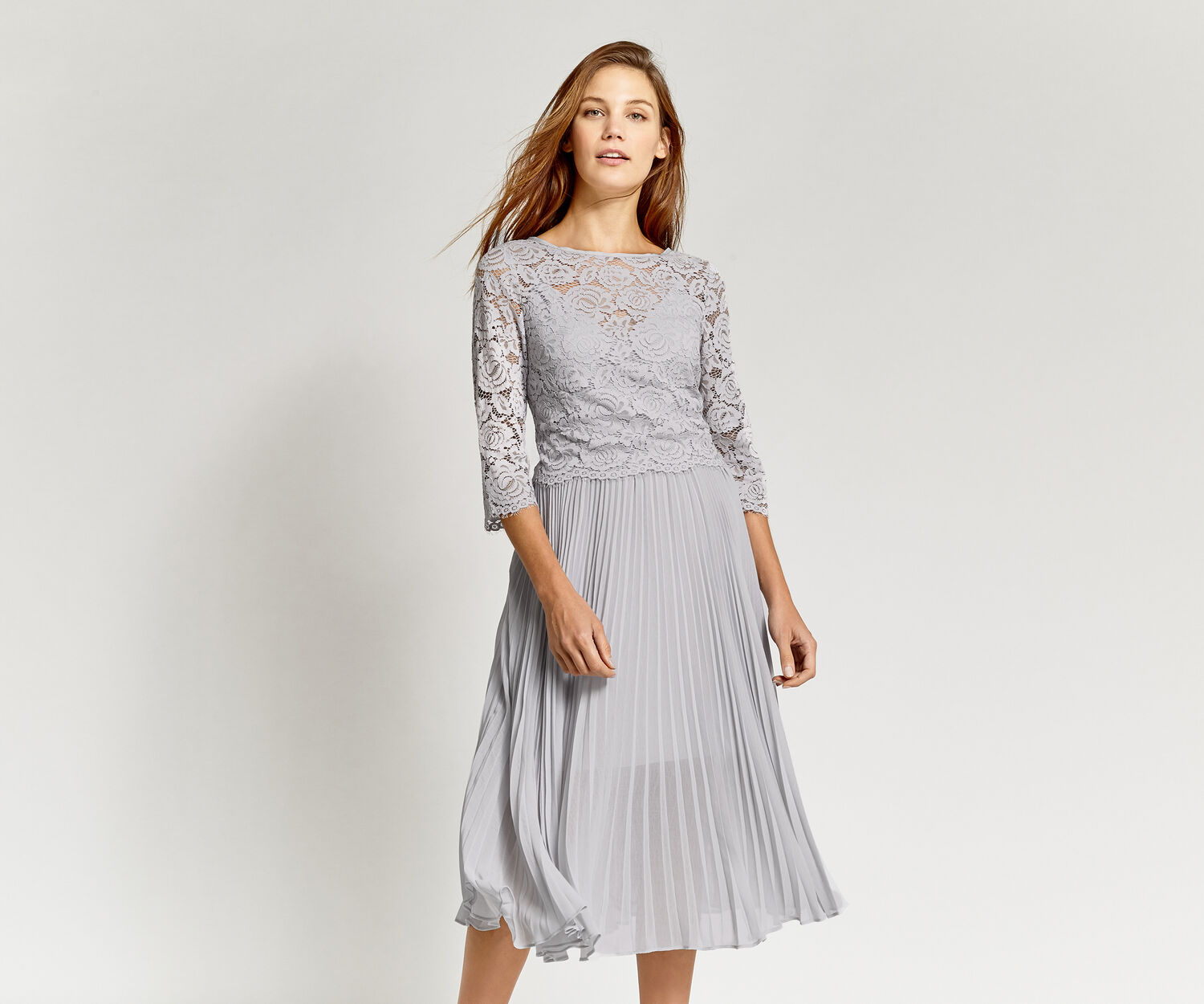 Oasis, LACE TOP PLEATED MIDI DRESS Pale Grey 1