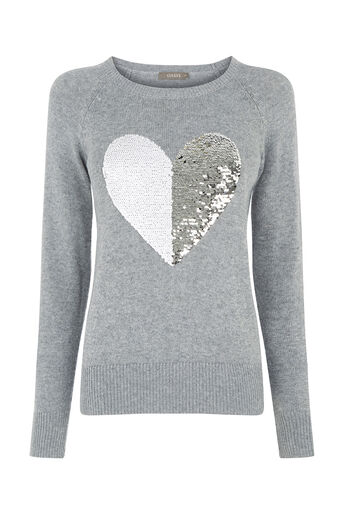Oasis, Sequin heart jumper Dark Grey 0