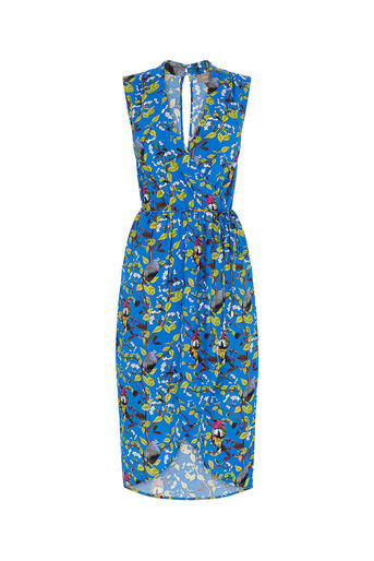Oasis, TOPAZ BIRD WRAP MIDI DRESS Multi Blue 0