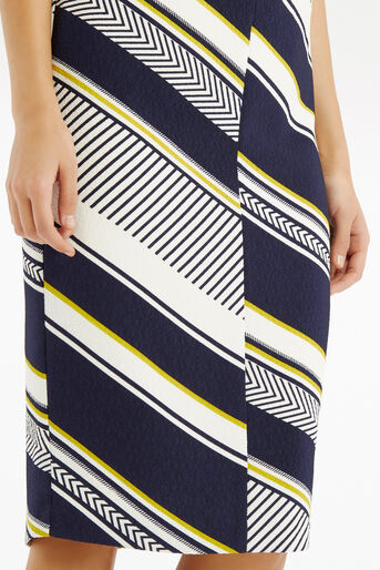 Oasis, Memphis Stripe Pencil Skirt Multi Blue 4