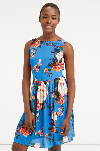 Oasis, ROSE SKATER DRESS Mid Blue 1