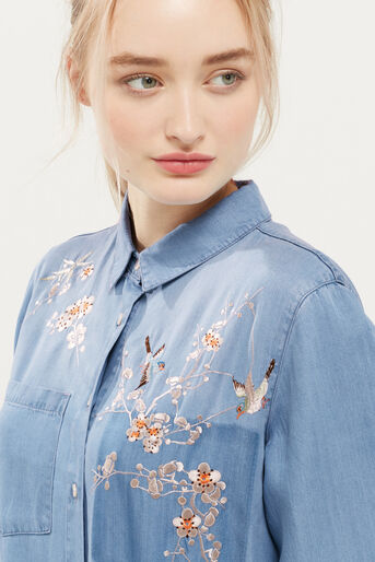 Oasis, Blossom embroidered shirt Denim 4