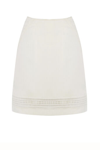 Oasis, Lace Trim Skirt White 0