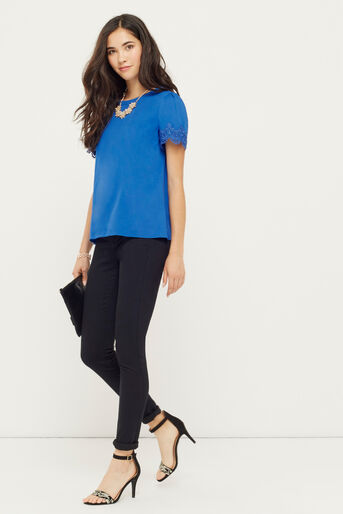 Oasis, LACE TRIM TEE Mid Blue 2