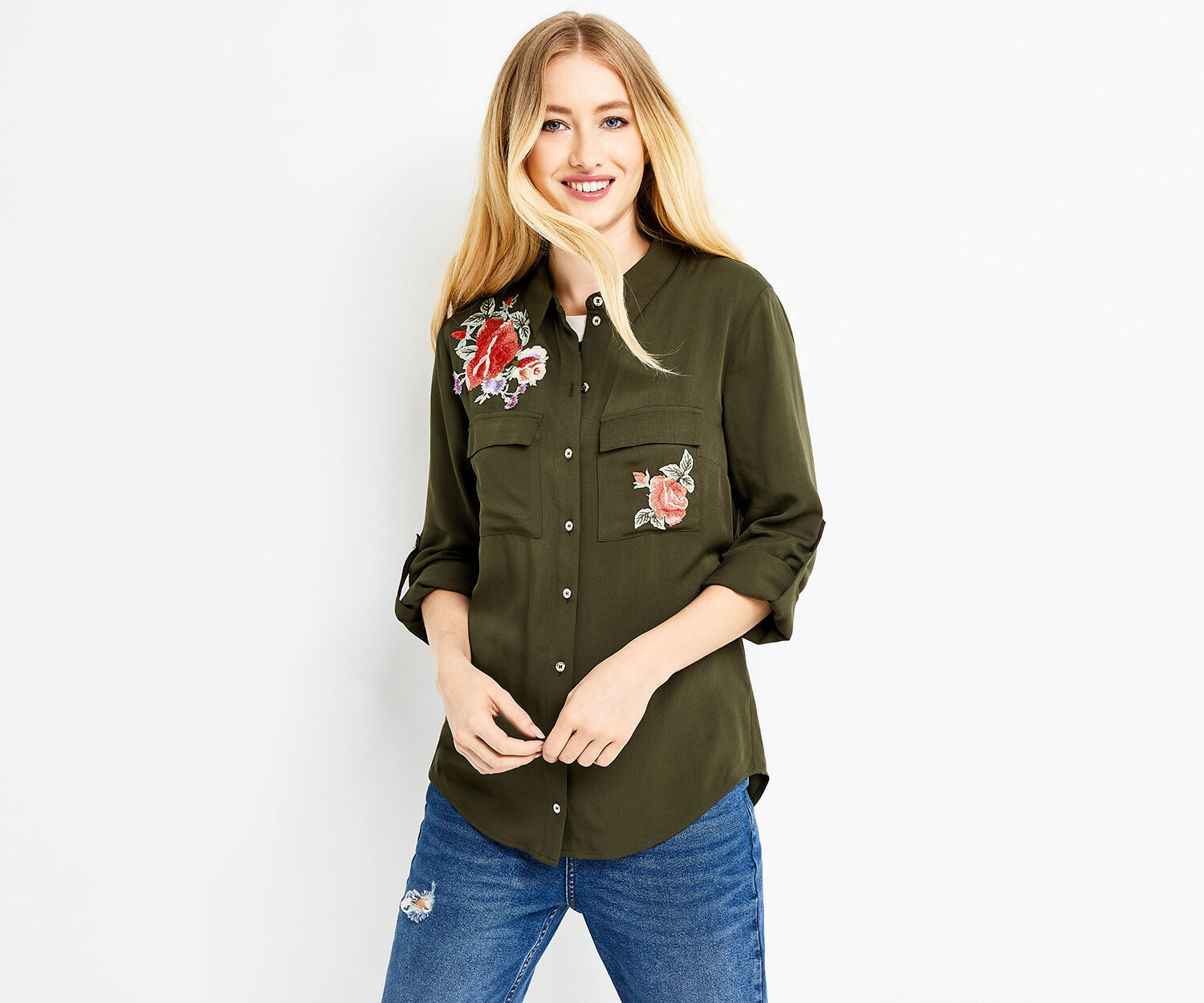 Oasis, EMBROIDERED ROSE SHIRT Khaki 1