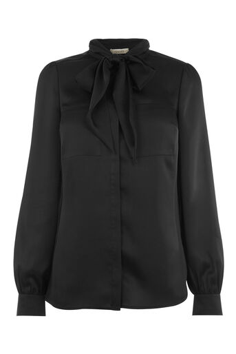 Oasis, SATIN PUSSY BOW BLOUSE Black 0