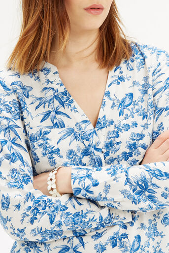 Oasis, Rosey Bird Viscose Shirt Multi Natural 4