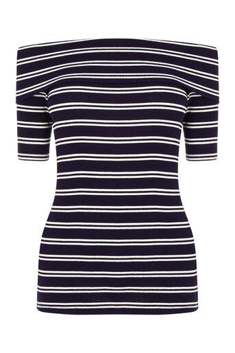 Oasis, Stripe Bardot Rib Top Multi 0