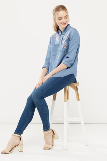 Oasis, Blossom embroidered shirt Denim 2