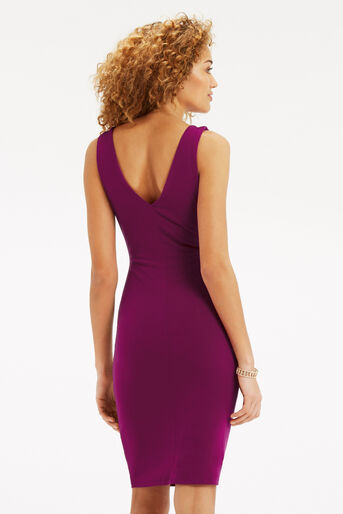 Oasis, Rouched V Neck Dress Mid Purple 3