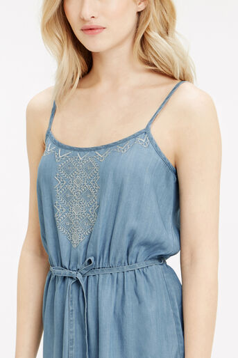 Oasis, Embroidered Cami Dress Light Wash 4