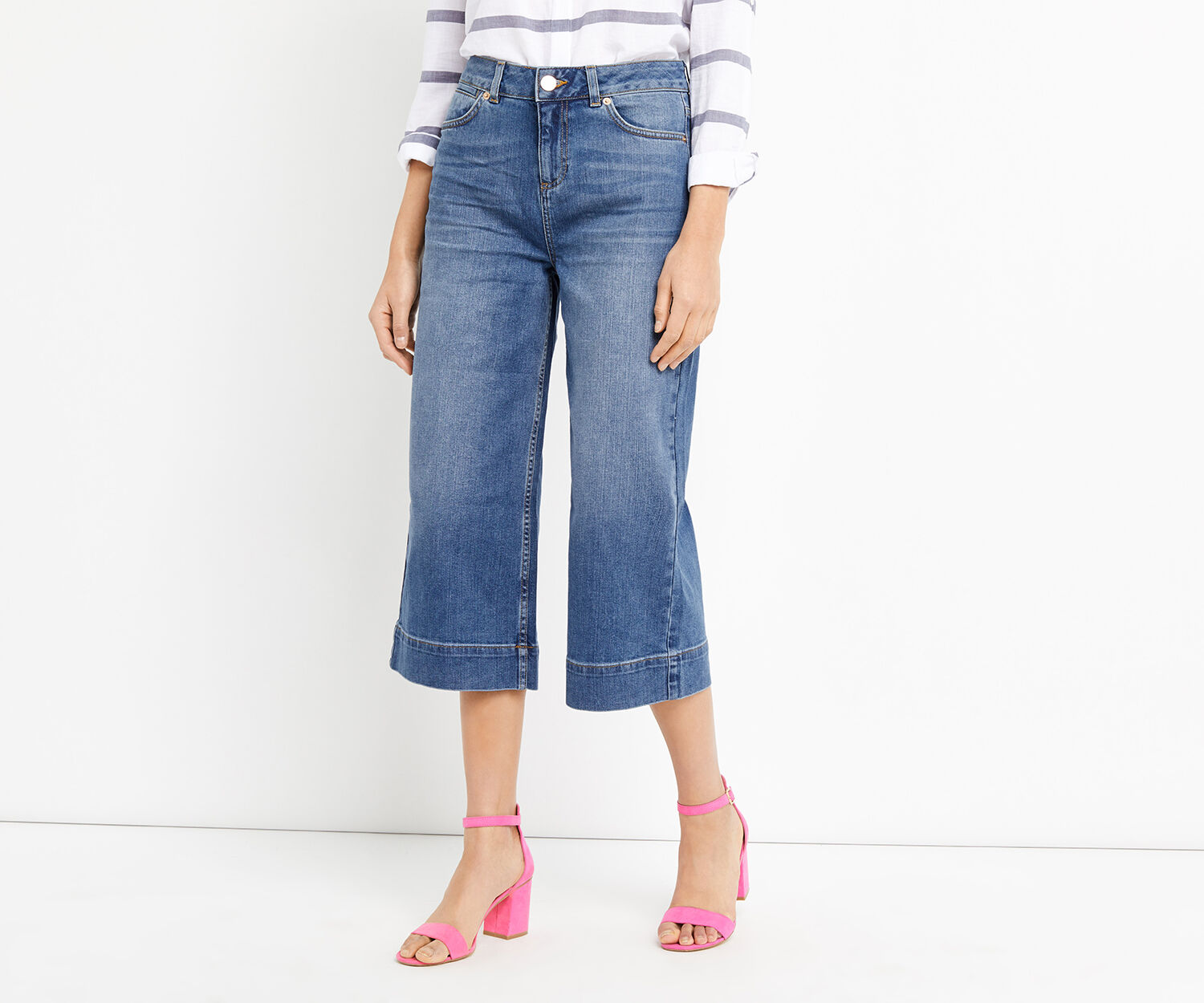 Oasis, ABBIE WIDE CROP JEAN Denim 1