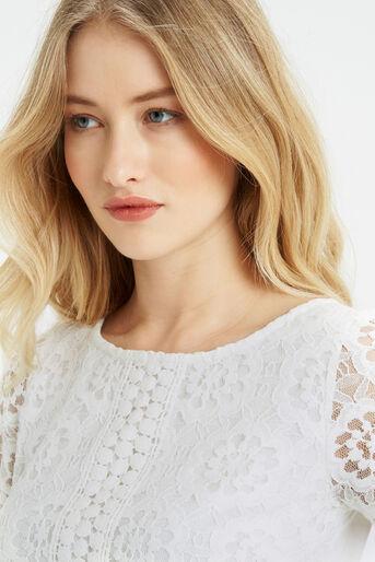 Oasis, Isla Lace T-Shirt Off White 4