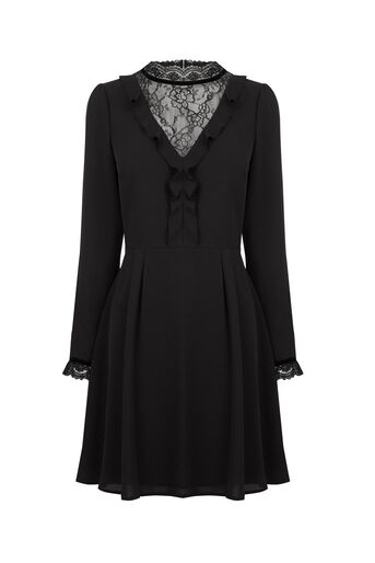 Oasis, LACE & RUFFLE DRESS Black 0