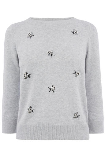 Oasis, BUMBLE BEE EMBELLISHED CREW Mid Grey 0