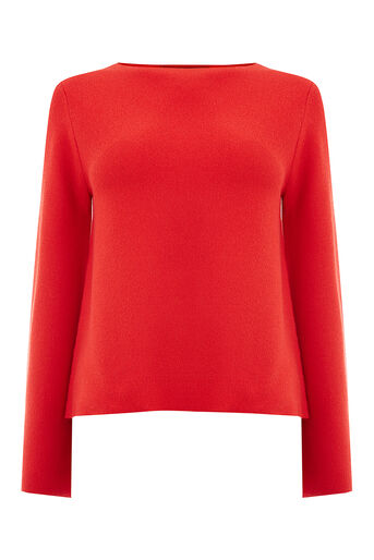 Oasis, BELL SLEEVE KNIT Rich Red 0