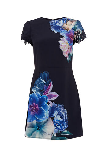 Oasis, WILD FLORAL SHIFT DRESS Multi Blue 0