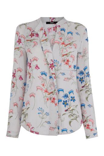 Oasis, Botanical Shirt Multi Grey 0