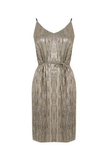 Oasis, METALLIC SLIP DRESS Gold 0