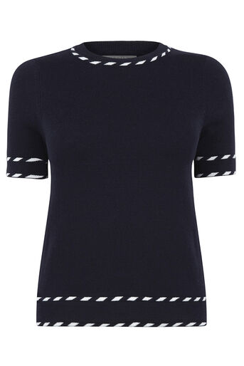 Oasis, Cute tipped SS knit Navy 0