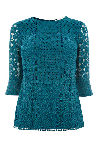 Oasis, KICK SLEEVE LACE TOP Turquoise 0