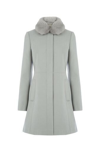 Oasis, SOPHIA FAUX FUR COLLAR COAT Pale Grey 0