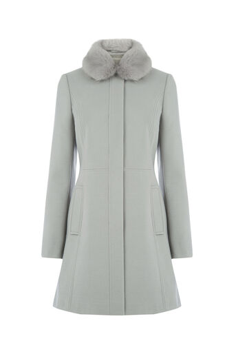 Oasis, SOPHIA FAUX FUR COLLAR COAT Mid Grey 0