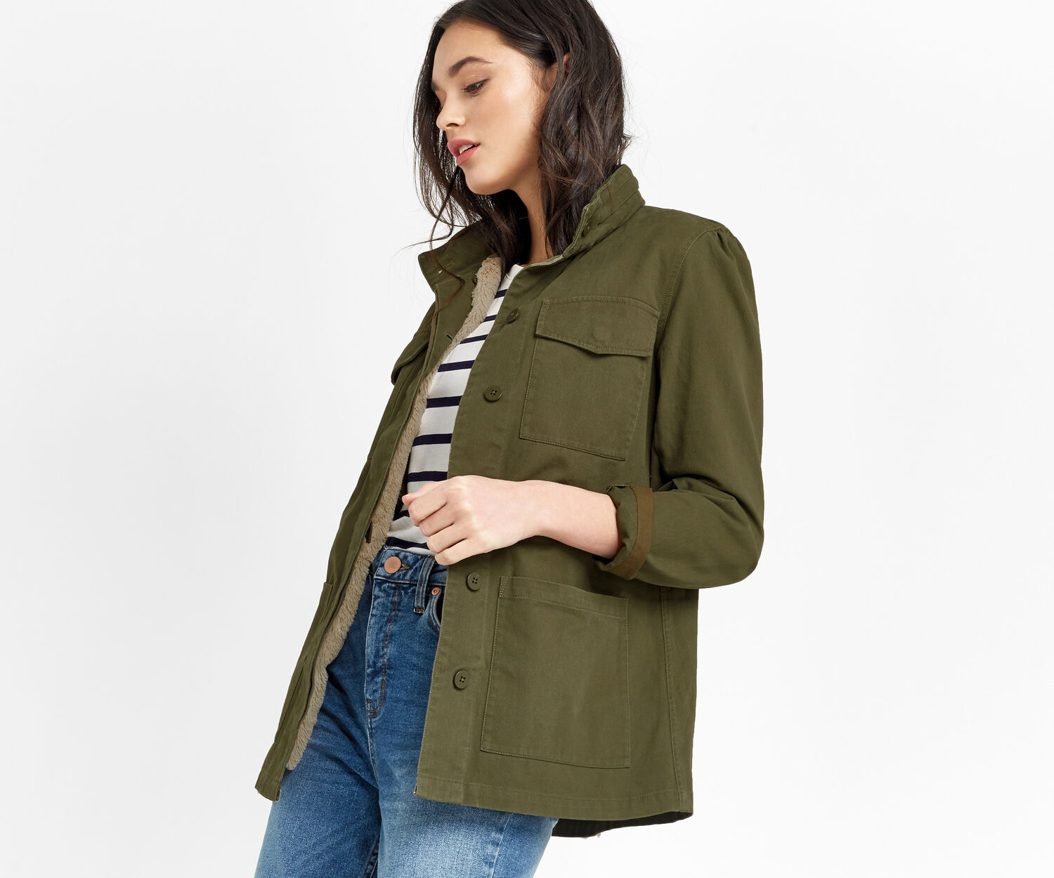 Oasis, FUR LINED MILITARY JACKET Khaki 1