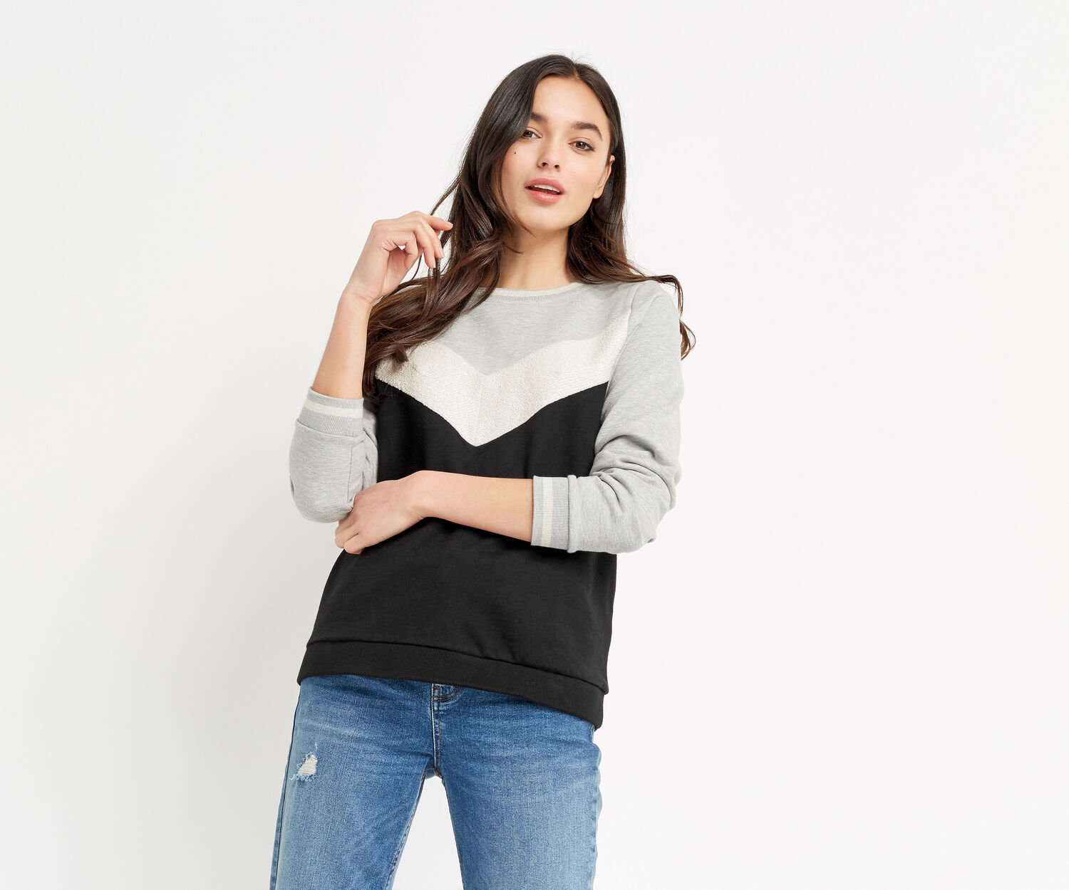 Oasis, CHEVRON SWEATER Multi Black 1