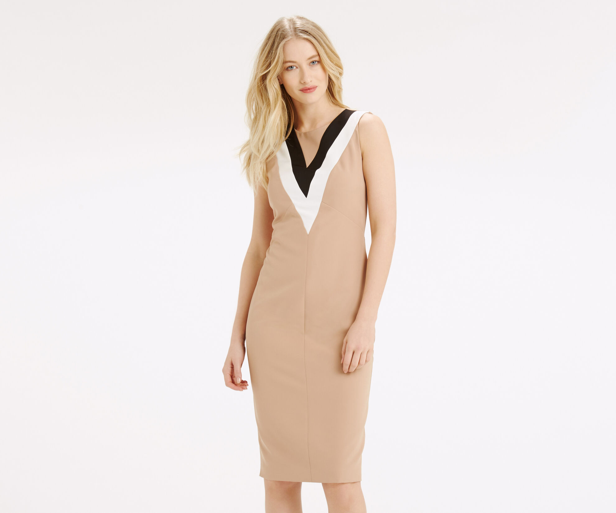Oasis, COLOURBLOCK V NECK DRESS Camel 1