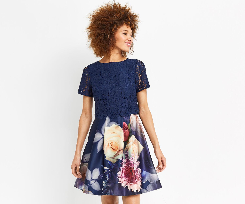 Oasis, LACE BODICE ROSE MINI DRESS Multi Blue 1