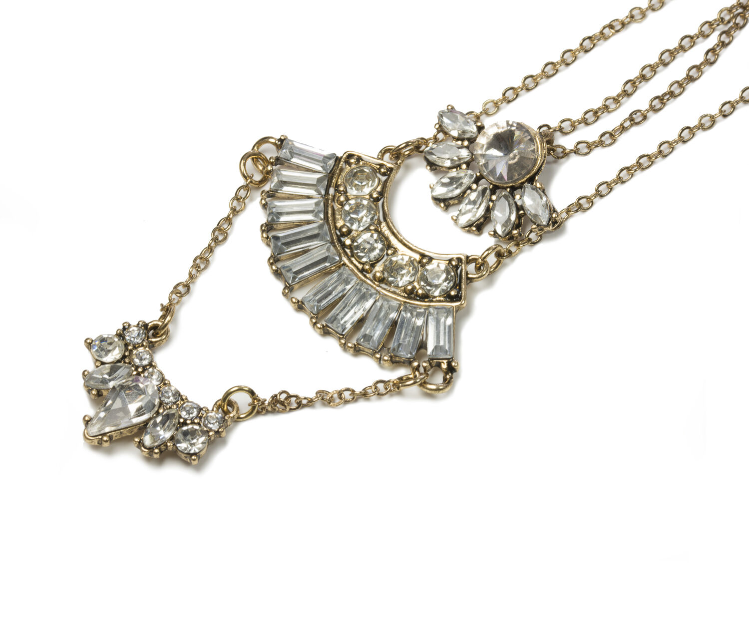 Oasis, 3 ROW DECO NECKLACE Crystal 1