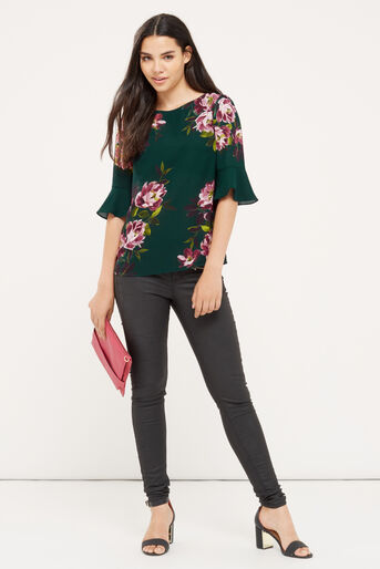 Oasis, PAINTED ROSE FLUTED SLEEVE TOP Multi Green 2