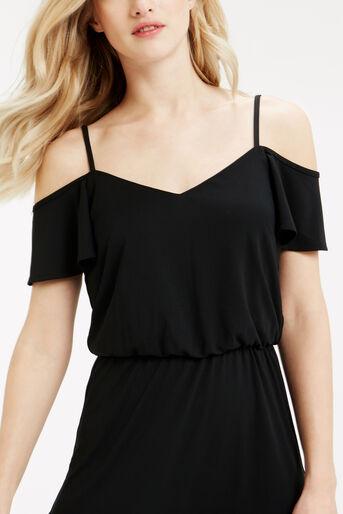 Oasis, Bardot Ruffle Hem Dress Black 4
