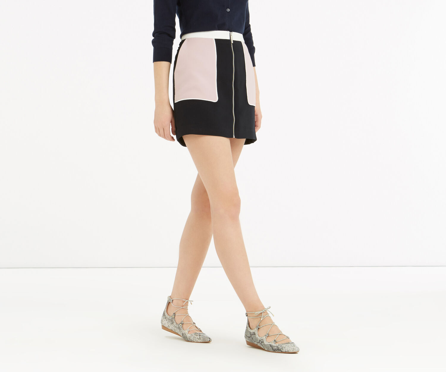 Oasis, Zip Front Colourblock Skirt Multi 1