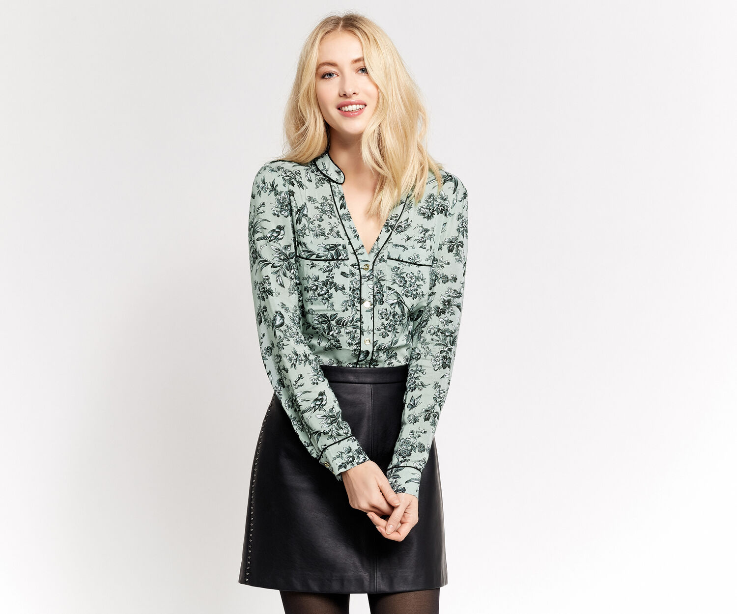 Oasis, ROSIE BIRD PIPED SHIRT Multi Green 1