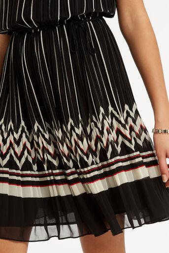 Oasis, Pleat Stripe Dress Multi Black 4