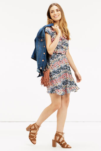 Oasis, Ditsy Frill Dress Multi 2