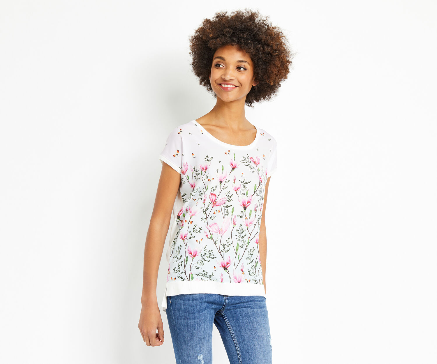 Oasis, MAGNOLIA KNITTED TEE Off White 1